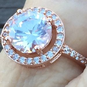 Jewelry - Rose Gold Halo Sapphire Ring